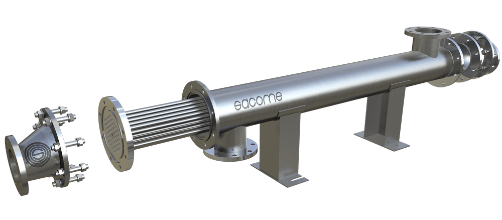 Tubular heat exchanger with a tube bundle within a shell. The product flows by the inner tubes while the service do it by the external channel.