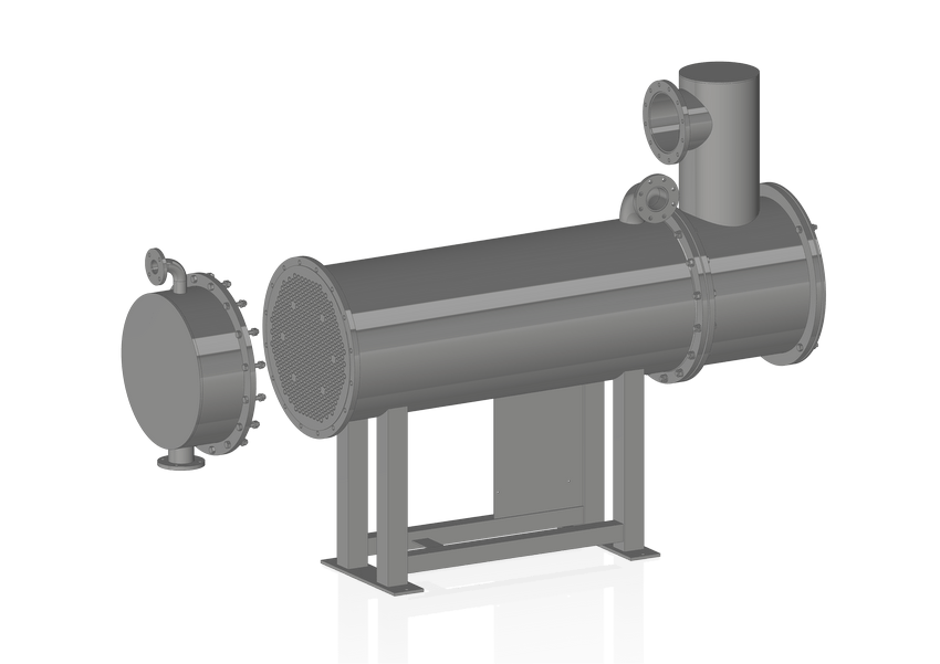 Vacuum vapours condensers coming from a single stage ejector.